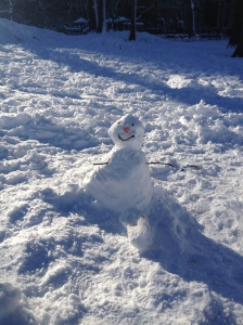 An adorable snowman in Central Park during the blizzard a few weeks ago