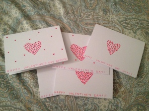 Some handmade Valentine's Day cards that I made to send to our families