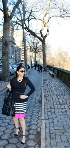 Top: Zara, Dress: Eliza J, Sunglasses: Marc Jacobs, Bag: Ann Taylor, Belt: J.Crew, Necklace: J.Crew, Shoes: Zara
