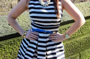 Necklace: J.Crew, Dress: Eliza J (from Nordstrom), Watch: Michael Kors, Bracelets: J.Crew, Belt: J.Crew, Shoes, J.Crew
